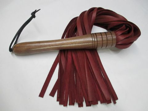Hard Wood Handled, 10mm wide Falls Luxury Oxblood Nappa Leather Flogger